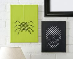 Halloween Cross Stitch Canvases - You could do an apple and a pumpkin.