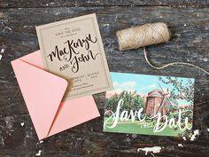vintage postcards, brown paper bags, capes, font, wedding invitations