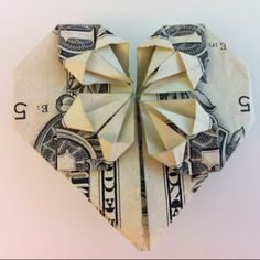 dollar bill origami heart  by me #origami #heart