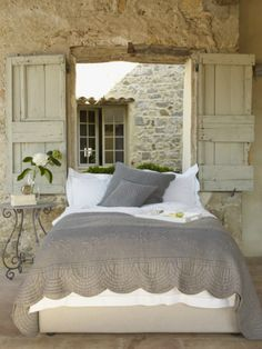 Cozy Extraordinaire! interior, rustic bedrooms, cottag, window, dream, shutter, french country, stone walls, guest rooms