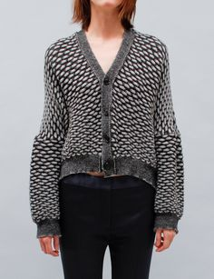 Anntian Knit Cardigan Triangles - Black/White