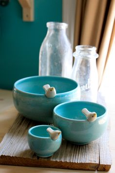 Custom-Made Pottery Birdie Nesting Bowls - 4-6 Weeks for Delivery. $140.00, via Etsy.