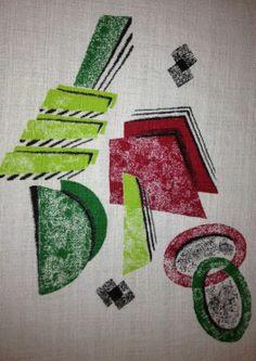 atomic barkcloth fabric | ... Geometric Mid Century Cotton Barkcloth ... | Atomic Fabric LOVE I