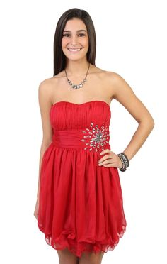 strapless #party #dress with stone accents and layered #chiffon hemline  $52.50