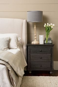need to remember this - These tan walls look great, but only because the floor is dark, the bed is light, the nightstand is dark and the trim is white.  Contrast is the only way tan walls won't look drab and muddy.