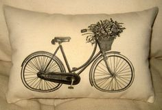 French Bicycle Pillow, Shabby Chic Vintage Bike of Flowers, Ivory Cotton Cushion, Affordable Home Decor, Neutral, Country farmhouse. $14.79, via Etsy.
