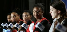 Georgia players, from left, Jasmine James, Jasmine Hassell, Tiaria Griffin and Shacobia Barbee watch as Anne Marie Armstrong answers a question during a news conference the day before a regional final in the NCAA women's college basketball tournament, Sunday, March 31, 2013, in Spokane, Wash. Georgia plays California on Monday. (AP Photo/Elaine Thompson)