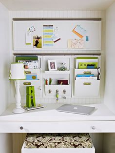 An Orderly Personality.  I have a built-in desk nook in my kitchen.  Now I have some good ideas about how to create storage!