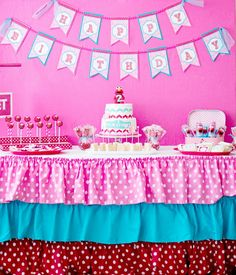 Preppy meets Vintage meets Modern meets Elmo! Such a sweet way to celebrate a little girl's birthday & her love for a character party. Polka dots & chevron. Pink, red, aqua. Dessert table.