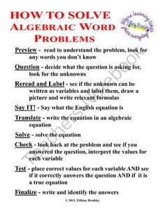 How to Solve Algebraic Word Problems Tip Sheet from Tiffany Brodsky on TeachersNotebook.com -  (1 page)  - One sheet full of tips or steps on how to solve an algebraic word problem.
