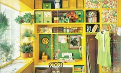 organize house, hanging plants, sewing spaces, sew room, sewing rooms, sewing nook, bright colors, crafts, craft rooms