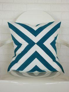 Blue Diagonal Print Pillow Cover- 20x20 throw pillow cover $38 AnnieRossDesigns on Etsy