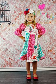 CUTE Christmas Dress!!   Violette's Swirly Peasant Dress PDF Pattern sizes 6months to girls size 8. $12.00, via Etsy.