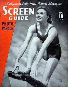 "Screen Guide 1937-08  Photograph of Ginger Rogers in athletic wear, possibly a swimsuit and standing on the edge of a diving point.     Source: Dave Wills, who sells on eBay as dwills1000, and has an eBay storefront ""Dave's Odds and Ends""  Restoration by: magscanner"