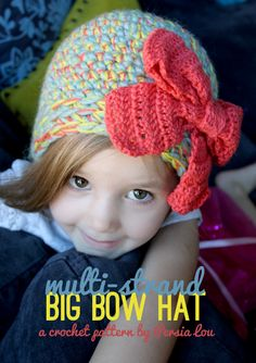 Persia Lou: Multi-Strand Big Bow Hat: Crochet Pattern