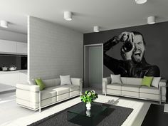 decor, living rooms, idea, dream homes, studio space, wallpapers, hous, wall stickers, wallpap mural