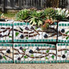 Mosaic cinder block planter by Mid Century Mosaics