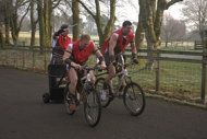Mountain bike chariot racing in Llanwrtyd Wells, Wales. This sport will kick off the first World Alternative Games.
