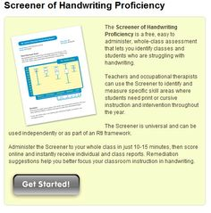 Free screener of handwriting proficiency from Handwriting Without Tears