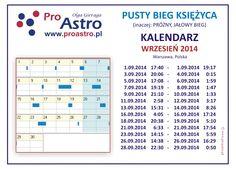 Pusty (próżny, jałowy) bieg Księżyca wrzesień 2014, Warszawa, Polska, Void of Course Moon September 2014, Warsaw Poland