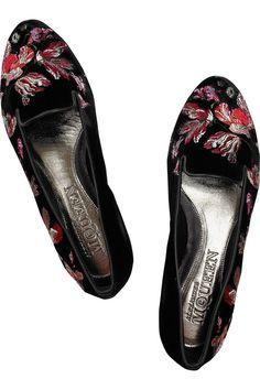 Alexander McQueen|Embroidered velvet loafers|NET-A-PORTER.COM