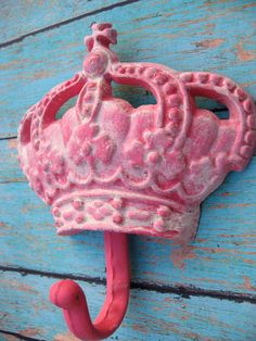 Hot Pink Antiqued Crown Cast Iron Wall Hook Perfect for a Queen or Princess Girls Bedroom or Bathroom. $15.00, via Etsy.