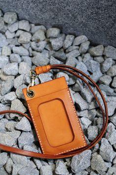 Hand Stitched MXS Light Leather Card Holder/ Badge Holder