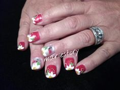Red nails, flowers by @ mariestory