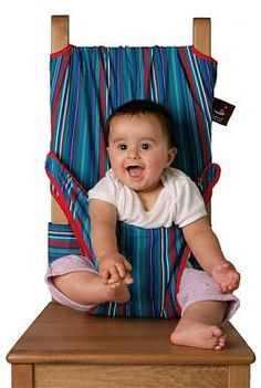 Throw it in the diaper bag and avoid disgusting wooden restaurant high chairs.