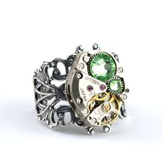 ibhandmade  Steampunk Ring  Bejeweled Watch Movement with by LondonParticulars, $55,00