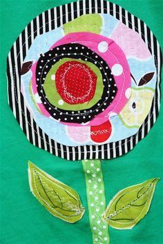 flower applique tee, perfect for random fabric scraps!