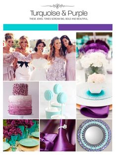 Turquoise and purple inspiration board, color palette, mood board, wedding ideas