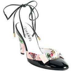 Chanel wrap pump, pumps, ankl wrap, print canva, chanel print, shoe, canva ankl, canvases