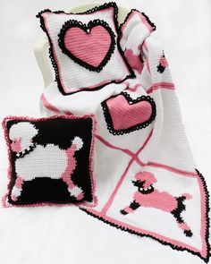 Poodles and Hearts Afghan and Pillows