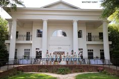 New landscaping in the front of the Manor makes a perfect picture location for wedding party photos and bridal portraits. {greensboro wedding photography. winston salem wedding photos} Image by Whitney Gray Photography