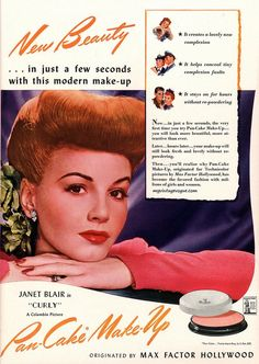 New beauty in just a few seconds with this modern make-up! #vintage #ad #beauty #makeup #cosmetics #1940s