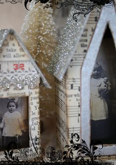 little houses, cereal boxes, vintage houses, art houses, mixed media art, cardboard houses, christma, paper houses, the holiday