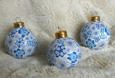 Delft Blue Polymer Clay on Glass Christmas Ornament - Set of 3