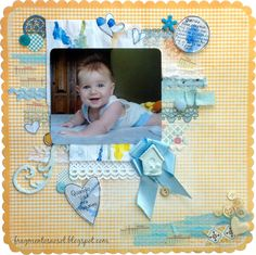 When you were little - Scrapbook.com - Layer bits of trim  and embellishments for a collage effect on a layout.