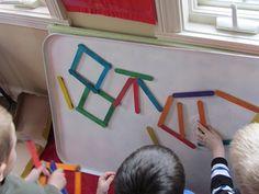 popsicle sticks + glued on magnets = shape exploration