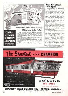 Vintage Literature Reproductions : 1958 Champion Mobile Home ~ RV Trailer Photo AD