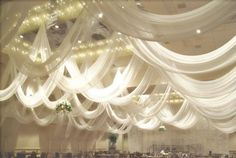 White draping wedding reception