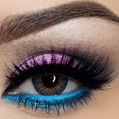 Pink and blue eyeshadow #vibrant #smokey #bold #eye #makeup #eyes