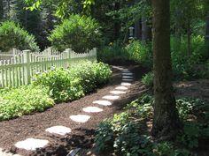 cedar mulch path   Hardscape installation @ Pumpkin Brook Organic Gardening