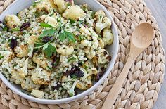 Warm Cauliflower Israeli Couscous Salad from @Oh My Veggies