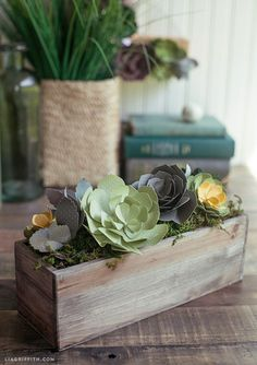 To make: Paper Succulents - includes tutorial and pattern (bet I could keep these one alive ;)