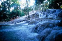 Dunn's River Falls, in Jamaica, Ocho Rios Area    Visited there almost 35 yrs ago. 600 ft climb to the top, but so worth it!