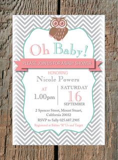 Owl Baby Shower Invitation - Customized