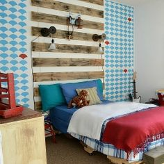 Isn't that focal wall so much fun? Boy's bedroom with fun, custom elements