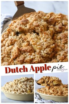 Dutch Apple Pie is everything I love in an apple pie recipe AND MORE! And by more, I mean a thick layer of buttery crumb topping instead of pie crust. This is a delicious spin on a classic! #cookiesandcups #applepie #dutchappepie #pierecipe #fallbaking #piecrust #crumbtopping